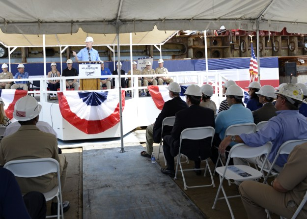 Secretary of the Navy (SECNAV) Ray Mabus delivers remarks during the keel-laying ceremony for the amphibious assault ship Tripoli (LHA-7). US Navy Photo
