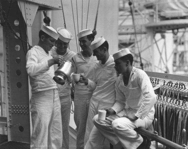 Sailors drinking coffee. US Navy Photo