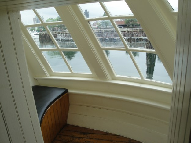 The port cabin window with the seat that conceals the original captain's head. Glenn Moyer Photo