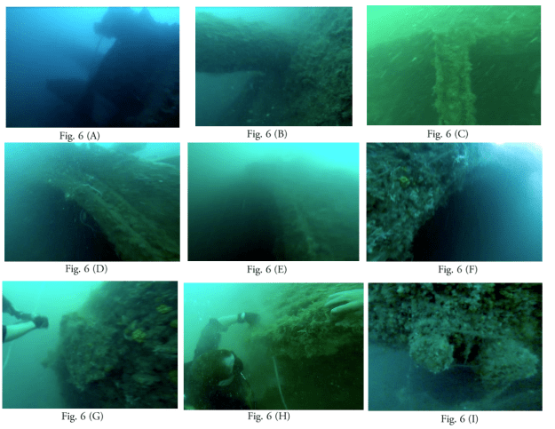Images captured by US Navy divers of the Houston Wreck. Naval History and Heritage Command