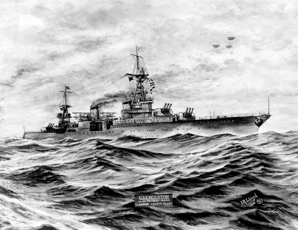 medium resolution of a 1930 print of uss houston us naval institute archives