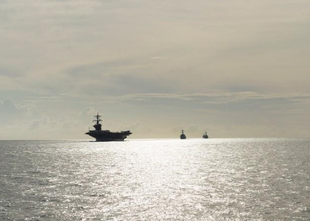 Carl Vinson Carrier Strike Group transits the Surigao Strait on Sept. 27, 2014. US Navy Photo