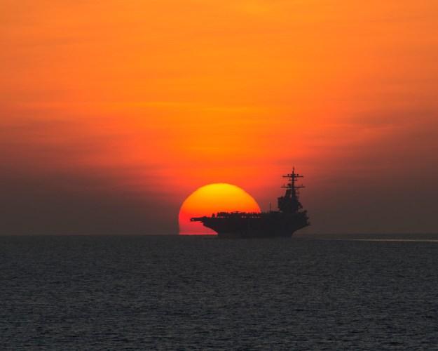 USS George H.W. Bush (CVN-77) transits the Gulf of Aden on Oct, 23, 2014. US Navy Photo