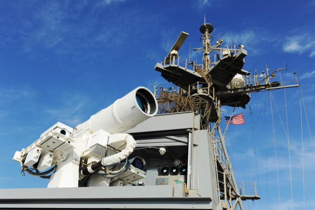Afloat Forward Staging Base (Interim) USS Ponce (ASB(I) 15) conducts an operational demonstration of the Office of Naval Research (ONR)-sponsored Laser Weapon System (LaWS). US Navy Photo