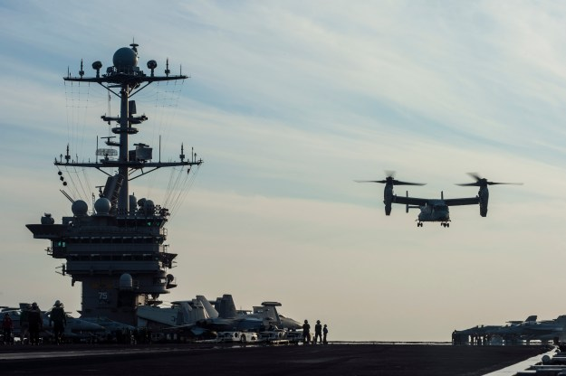 MV-22 Osprey, assigned to Marine Medium Tiltrotor Squadron 166, launches from the flight deck of the aircraft carrier USS Harry S. Truman (CVN-75) in 2013. US Navy Photo