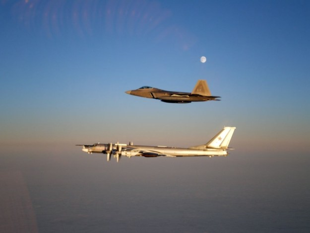 US Air Force F-22 Raptor escorting a Russian Tupolev Tu-95 Bear bomber in 2011. US Air Force Photo