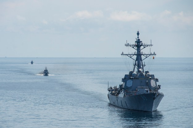 USS Mustin (DDG-89) in 2014. Mustin is one of five Arleigh Burke destroyers that won't receive a ballistic missile defense (BMD) upgrade do to a reduction of funding as part of the Navy's FY 2016 budget request. US Navy Photo