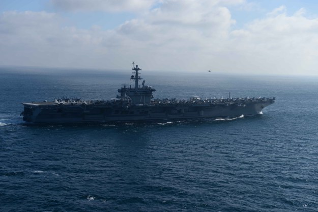 USS Theodore Roosevelt (CVN-71) participates in a strait transit exercise on Jan. 16, 2015. US Navy Photo