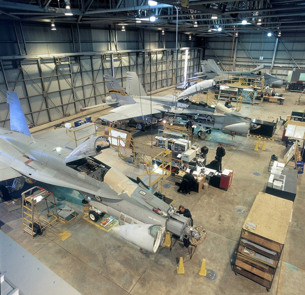 An undated photo of Maintenance, Repair, and Overhaul (MRO) of Royal Australian Air Force Hornets. Boeing Photo via Defense Industry Daily