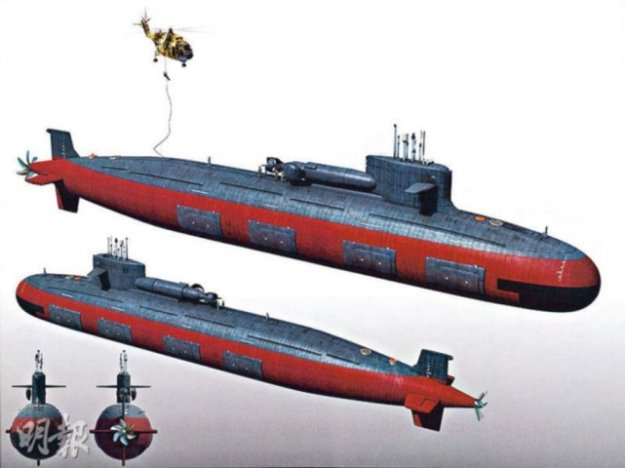 A Computer generated image of a Type-93T or Shang-class nuclear attack submarine