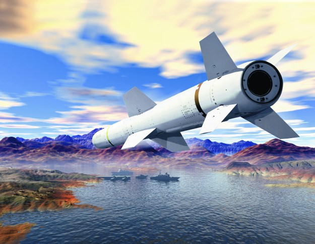 An artist's representation of a Harpoon Anti-Ship Missile. Boeing Image