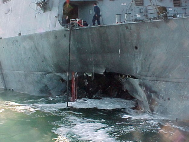 USS Cole after al-Qaeda suicide attack. US Navy Photo