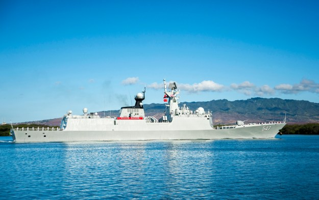 130806-N-IU636-034 PEARL HARBOR (Sept. 6, 2013) The Chinese People's Liberation Army-Navy Jiangkai-class frigate Linyi (FFG 547) arrives at Joint Base Pearl Harbor-Hickam. This port visit is part of the U.S. Navy's ongoing effort to maximize opportunities for developing relationships with foreign navies as a tool to build trust, encourage multilateral cooperation, enhance transparency, and avoid miscalculation in the Pacific. (U.S. Navy photo by Mass Communication Specialist Seaman Johans Chavarro/Released)