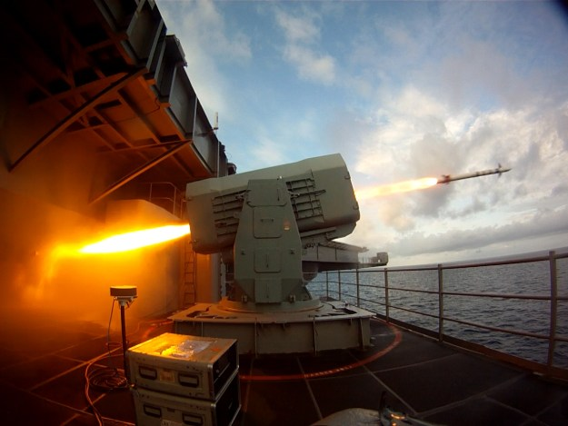 The aircraft carrier USS Theodore Roosevelt (CVN 71) launches a Rolling Airframe Missile (RAM) on Aug. 19, 2014. US Navy photo.