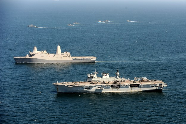 USS San Antonio (LPD-17) and Royal Navy amphibious warship HMS Ocean (L12) on June 8, 2015. US Navy Photo