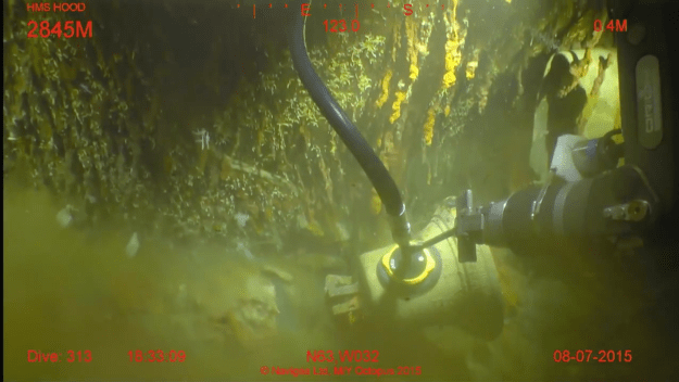 Screen grab of the ship's bell of HMS Hood plucked from the ocean floor on Aug 7, 2015.
