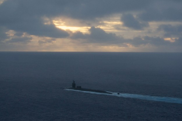 Ohio-class guided missile submarine USS Michigan (SSGN-727) heads out to sea in 2012, US Navy Photo