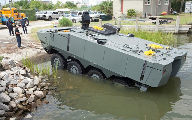 TERREX 2, SAIC's ACV 1.1 vehicle, completes swim test in Charleston, South Carolina. Photo courtesy SAIC.
