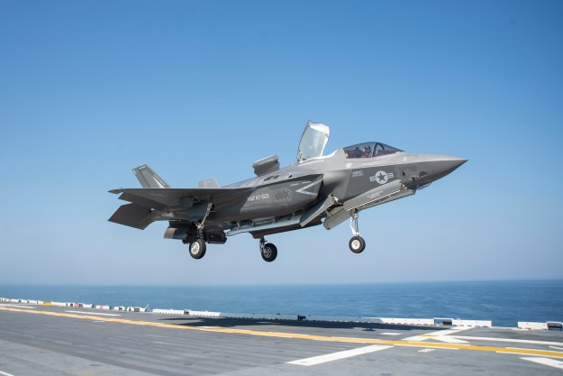 An F-35B Lighting II lands on the flight deck of the amphibious assault ship USS Wasp (LHD-1) on May 18, 2015. US Navy Photo
