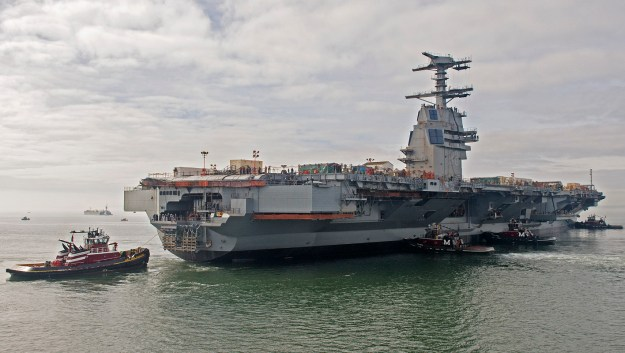 The aircraft carrier Gerald R. Ford (CVN 78) floats in the James River in 2013. Newport News Shipbuilding Photo