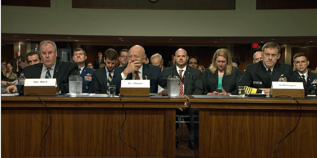 Deputy Secretary of Defense Bob Work, Director of National Intelligence James Clapper and NSA Director Adm. Mike Rogers at a Sept. 29, 2015 Senate Armed Services Committee hearing on cyber warfare. CSPAN Image