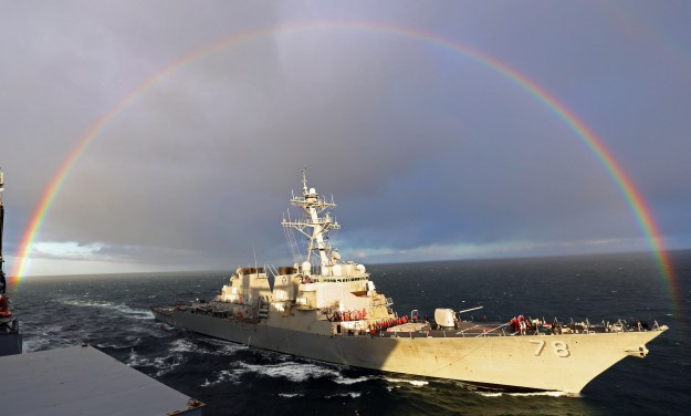 USS Porter (DDG 78) pulls alongside the Military Sealift Command dry cargo and ammunition ship USNS Medgar Evers (T-AKE 13) before a replenishment-at-sea on April 15, 2015. US Navy Photo