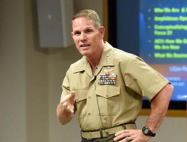 Lt. Gen. Robert Walsh, commanding general of the Marine Corps Combat Development Command on Aug. 27, 2015. US Navy Photo