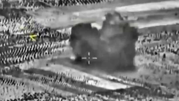 Still of Russian Syrian strike. Russian Ministry of Defense Image