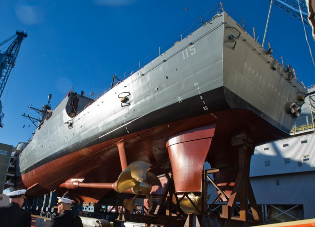 USS Rafael Peralta (DDG-115) before the christening ceremony at General Dynamics Bath Iron Works, Bath, Maine on Oct. 31, 2015. US Marine Corps Photo