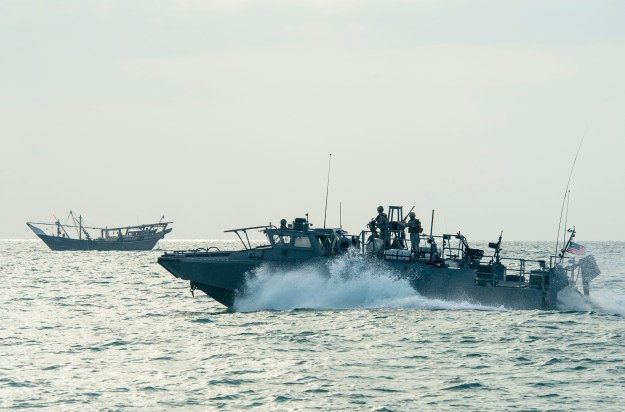 Riverine Command Boat (RCB) 805, assigned to Commander, Task Group (CTG) 56.7, transits through the Persian Gulf during patrol operations on Nov. 2, 2015. US Navy Photo