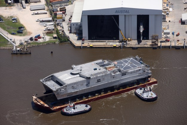 Expeditionary Fast Transport Brunswick (EPF-6) launched from the Austal USA shipyard in May 2015. US Navy Photo