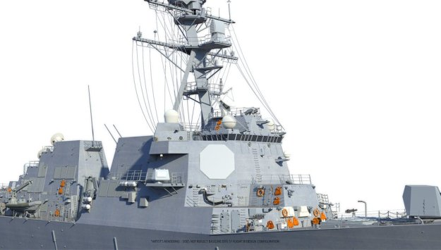 An artist's conception of a Raytheon's SPY-6 radar on a Flight III Arleigh Burke destroyer . Raytheon Image