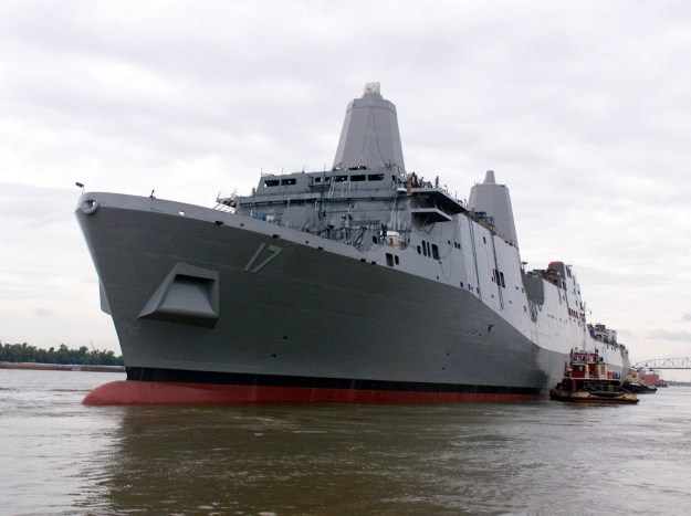 San Antonio (LPD-17) floats along the Mississippi River at the then Northrop Grumman Ship Systems Avondale Operations in New Orleans in 2003. Northrop Grumman Photo