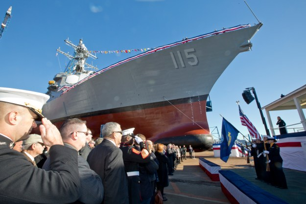 USS Rafael Peralta christening ceremony at General Dynamics Bath Iron Works, Bath, Maine on Oct. 31, 2015. US Marine Corps Photo