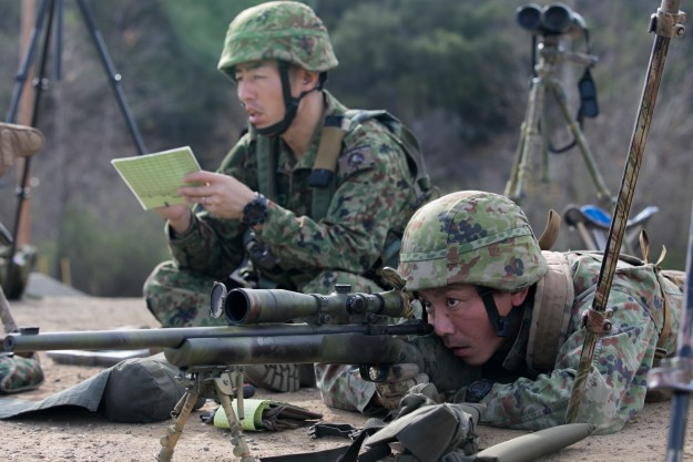 Japan Ground Self-Defense Force (JGSDF) soldiers measure range distances with their M24 sniper rifles at the unknown distance live-fire event during Exercise Iron Fist 2016 aboard Marine Corps Base Camp Pendleton, Calif. US Marine Corps Photo