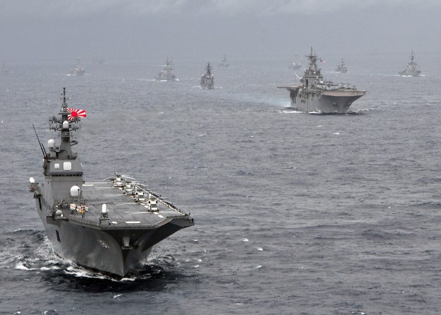 Japan Maritime Self-Defense Force helicopter destroyer JS Hyuga (DDH-181) leads a formation of US Navy and Japan Maritime Self-Defense Force ships in 2009. US Navy Photo