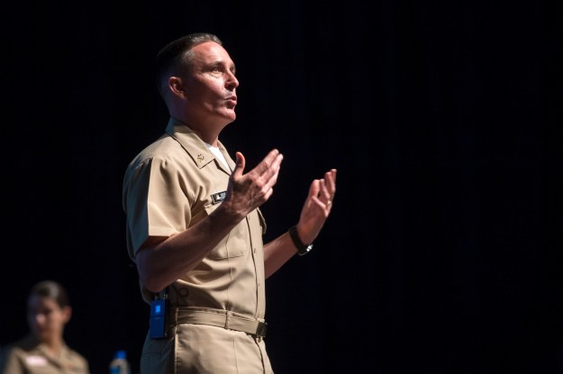 Master Chief Petty Officer of the Navy (MCPON) Mike Stevens address midshipmen from the class of 2019 in Alumni Hall the U.S. Naval Academy on Aug. 11, 2015. US Navy