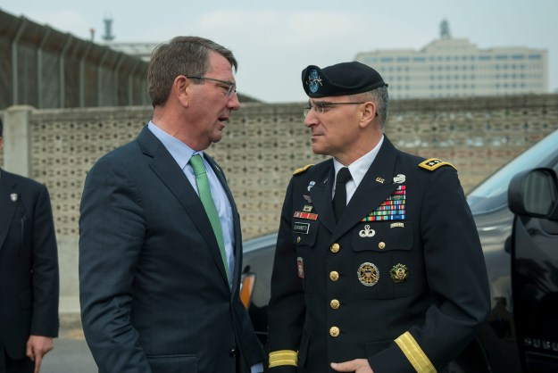 Secretary of Defense Ash Carter says goodbye to Army Gen. Curtis Scaparrotti, commander, U.S. Forces Korea, after attending the Security Consultative Meeting Nov. 2, 2015 in Seoul, Republic of Korea. U.S. Army photo.