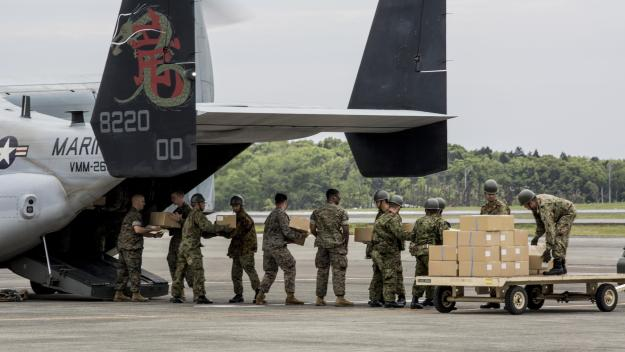 Marines with Marine Medium Tiltrotor Squadron 265 (Reinforced), 31st Marine Expeditionary Unit, assists the Government of Japan in supporting those affected by recent earthquakes in Kumamoto, Japan on April 18, 2016. US Marine Corps Photo
