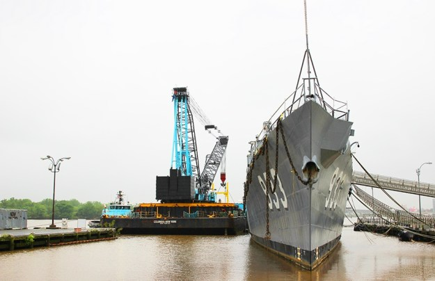 Display Ship Barry Prepped For Towing, Dismantling