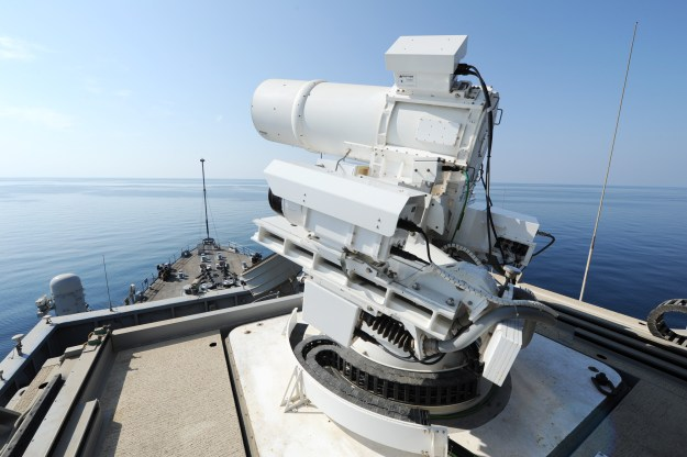 The Afloat Forward Staging Base (Interim) USS Ponce (ASB(I) 15) conducts an operational demonstration of the Office of Naval Research (ONR)-sponsored Laser Weapon System (LaWS) while deployed to the Arabian Gulf on November 17, 2014. US Navy photo.