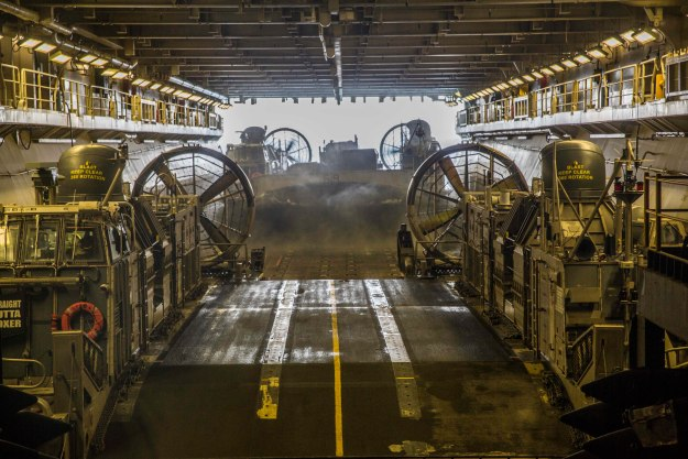Landing Craft Air-Cushion watercraft embarks the USS Boxer (LHD-4) . US Marine Corps Photo