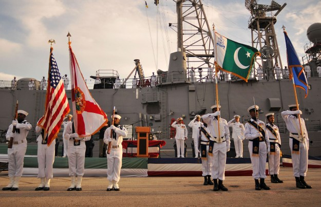 U.S. and Pakistan national anthems are played during the decommissioning ceremony of the guided-missile frigate USS McInerney (FFG-8) at Naval Station Mayport in 2010. US Navy Photo