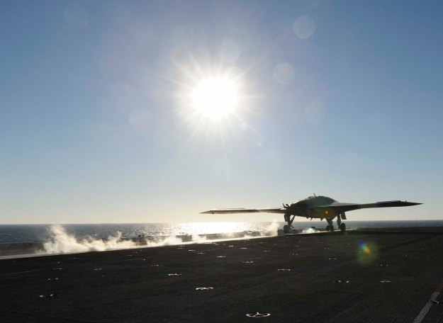X-47B Unmanned Combat Air System Demonstrator (UCAS-D) launches from the aircraft carrier USS Theodore Roosevelt (CVN 71) in 2013. US Navy Photo