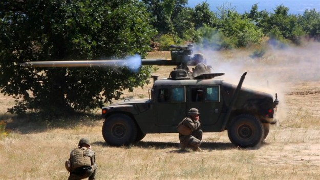 US Marines with the Black Sea Rotational Force, fires TOW anti-tank missile on July 8 in Bulgaria. US Marine Corps Photo