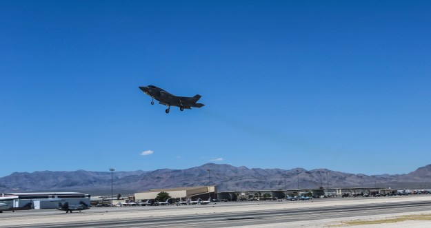 An F-35B Lightning II with Marine Fighter Attack Squadron (VMFA) 121 takes off during exercise Red Flag 16-3 at Nellis Air Force Base, Nev., July 20. This is the first time that the fifth generation fighter has participated in the multiservice air-to-air combat training exercise. US Marine Corps photo.