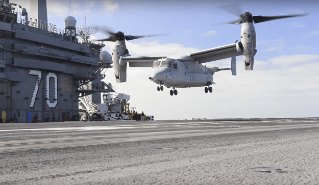 Video: MV-22 Osprey Tests on Carrier USS Carl Vinson