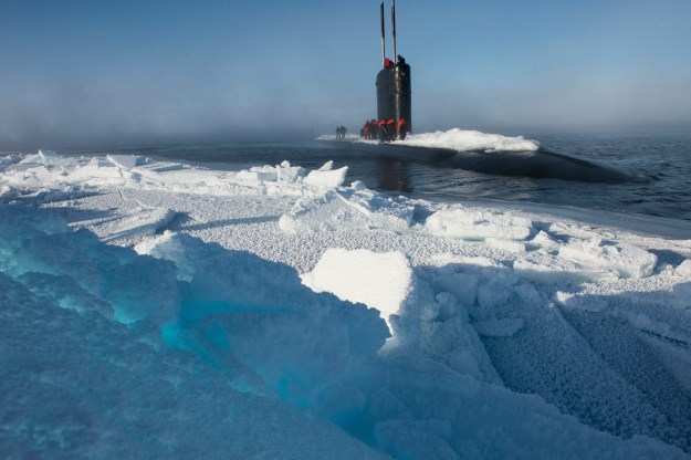Los Angeles-class submarine USS Hartford (SSN-768), surfaces near Ice Camp Sargo during Ice Exercise (ICEX) 2016 on March 15, 2016. US Navy photo.