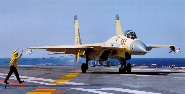 Shenyeng J-15 Flying Shark on the Chinese aircraft carrier Liaoning. PLAN Photo