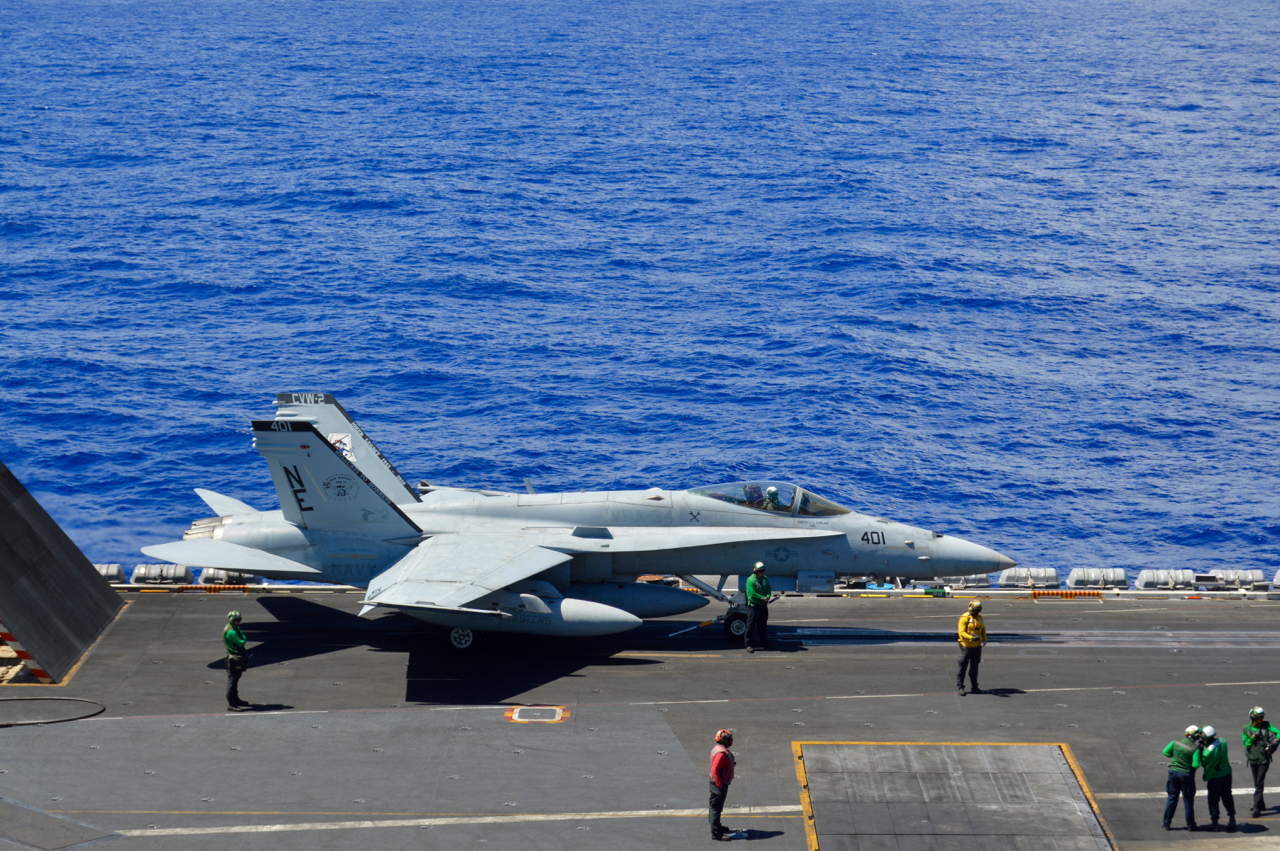hight resolution of a hornet from strike fighter squadron 34 aboard uss carl vinson cvn 70 prepares to launch during the rim of the pacific 2018 exercise